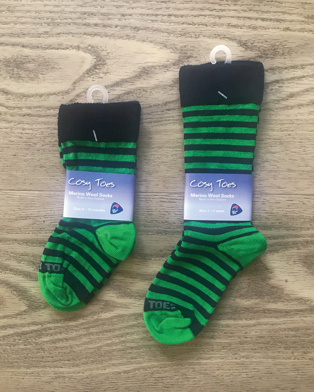 Baby Merino Socks – Navy/Lime Long