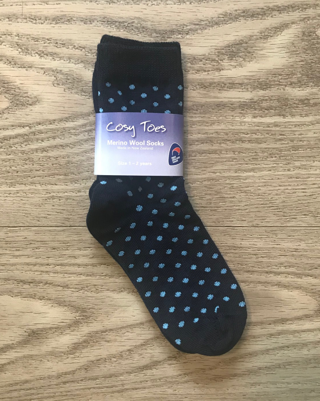 Baby Merino Socks – Navy Dot Crew