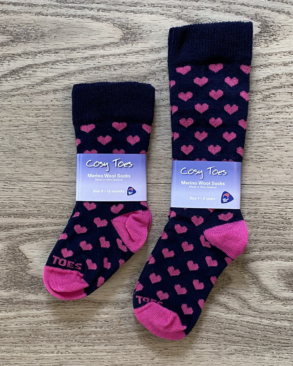Baby Merino Socks – Navy/Pink Hearts Long